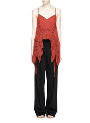 Elizabeth And James 'Eleanor' Drawstring Ruffled Silk Crepon Camisole Red