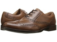 Dockers Corinth British Tan Burnished Full Grain Men's Lace Up Wing Tip Shoes Red
