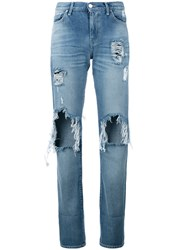 7 For All Mankind Denim Distressed Jeans Blue