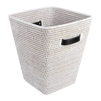 Baolgi Square Waste Bin With Leather Handles White