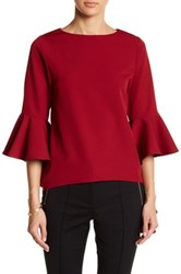 Gracia Bell Sleeve Hi Lo Blouse Red