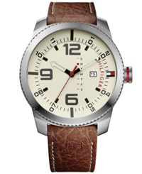 Tommy Hilfiger Men's Brown Leather Strap Watch 50Mm 1791013
