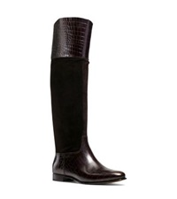 Michael Kors Rooney Embossed Leather And Suede Boot Chocolate