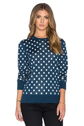 Equipment Shane Retro Dot Crew Neck Sweater Teal