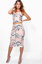 Boohoo Floral Crop Top And Midi Skirt Co Ord Set Blush
