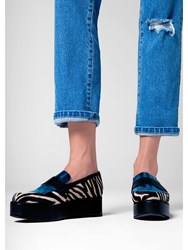 House Of Holland Panelled Flatform Loafer Zebra Black