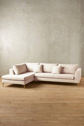 Anthropologie Linen Edlyn Left Sectional Cream