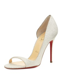 Christian Louboutin Toboggan Glitter Leather Red Sole Pump Ivory