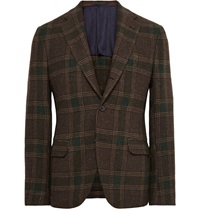 Mp Massimo Piombo Brown Slim Fit Checked Wool Flannel Blazer