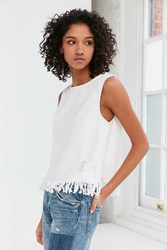 Silence And Noise Distressed Denim Fringe Tank Top White