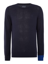 Perry Ellis College Crew Neck Contrast Cuff Jumper Navy