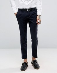 Noose And Monkey Skinny Suit Trousers In Brushed Pinstripe Navy