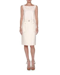 Agnona Sleeveless Studded Sheath Dress White