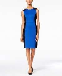 Calvin Klein Petite Faux Suede Inset Scuba Sheath Dress Blue