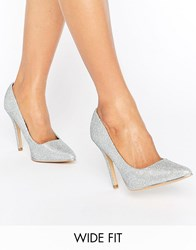 New Look Wide Fit Glitter Pointed Court Shoe Silver