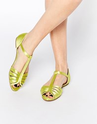 Asos Jenna Satin Two Part Shoes Yellow