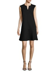 Lord And Taylor Dropped Waist Ponte Dress Black