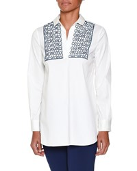 Piazza Sempione Long Sleeve Tunic W Macrame Inset White Ink Blue