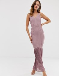 Lipsy Bandage Maxi Dress With Pleated Fishtail In Dusty Violet Purple