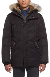 Mackage Waterproof Down Parka With Genuine Rabbit And Coyote Fur Black