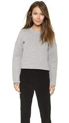 Alexander Wang Neoprene Crew Neck Sweatshirt Heather Grey