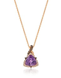 Le Vian 0.49Tcw Diamonds Amethyst And 14K Rose Gold Chocolatier Pendant Necklace