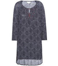 Velvet Yani Printed Embroidered Dress Blue