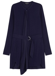 Whistles Navy Draped Front Crepe Tunic