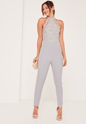 Missguided Grey Lace High Neck Sleeveless Jumpsuit