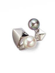 Majorica 10Mm 12Mm Bicolor Round Pearl And Sterling Silver Cube Wrap Ring Multi