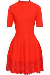 Lela Rose Woman Flared Guipure Lace Trimmed Stretch Knit Dress Tomato Red
