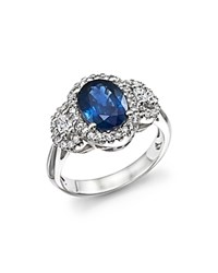 Bloomingdale's Sapphire Oval And Diamond Ring In 14K White Gold