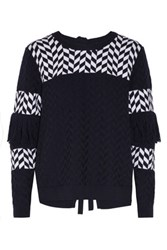Tanya Taylor Faye Cutout Fringed Cotton Blend Sweater Midnight Blue