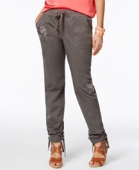 Inc International Concepts Embroidered Curvy Fit Cargo Pants Only At Macy's Grey Knight