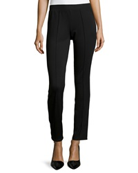 Neiman Marcus Piped Ponte Leggings Black