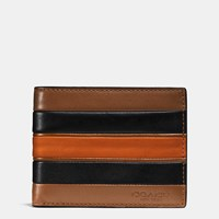 Coach Modern Varsity Stripe Slim Billfold Wallet In Smooth Leather Dark Saddle Black