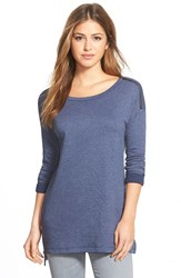 Women's Caslon Zip Detail Three Quarter Sleeve Tunic Heather Navy