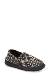 Woolrich Women's Whitecap Knit Slipper Charcoal Snowshoe Fabric