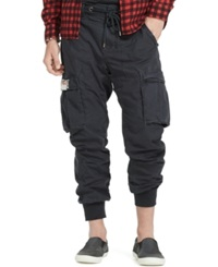 Denim And Supply Ralph Lauren Solid Cotton Jogger Cargo Pants Army Black
