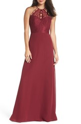 Hayley Paige Occasions Lace And Chiffon Halter Gown Burgundy