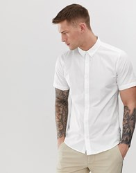 Only And Sons Short Sleeve Stretch Cotton Shirt White