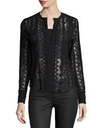 Rebecca Taylor Long Sleeve Embroidered Silk Top Black