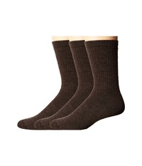 Smartwool Heavy Heathered Rib 3 Pack Chestnut Men's Crew Cut Socks Shoes Brown