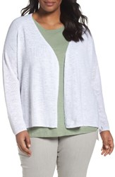 Eileen Fisher Plus Size Women's Organic Linen And Cotton Cardigan White