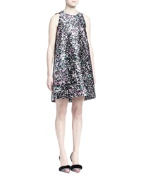 Balenciaga Graffiti Print Satin A Line Dress