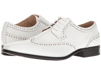 Stacy Adams Melville White Men's Lace Up Wing Tip Shoes