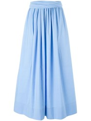 Cedric Charlier Cedric Charlier Pleated Front Maxi Skirt Blue
