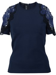 Yigal Azrouel Embroidered Cold Shoulder T Shirt Blue
