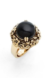 Metal Stone Women's And Floral Set Ring Gold Onyx