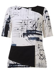 John Lewis Kin By Limited Edition Hand Drawn Printed Top Black White